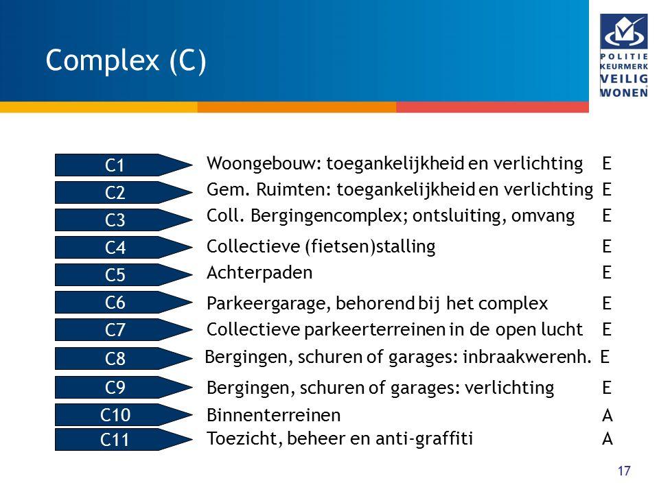 17 Complex (C) Woongebouw: toegankelijkheid en verlichtingE Gem. Ruimten: toegankelijkheid en verlichtingE Coll. Bergingencomplex; ontsluiting, omvang