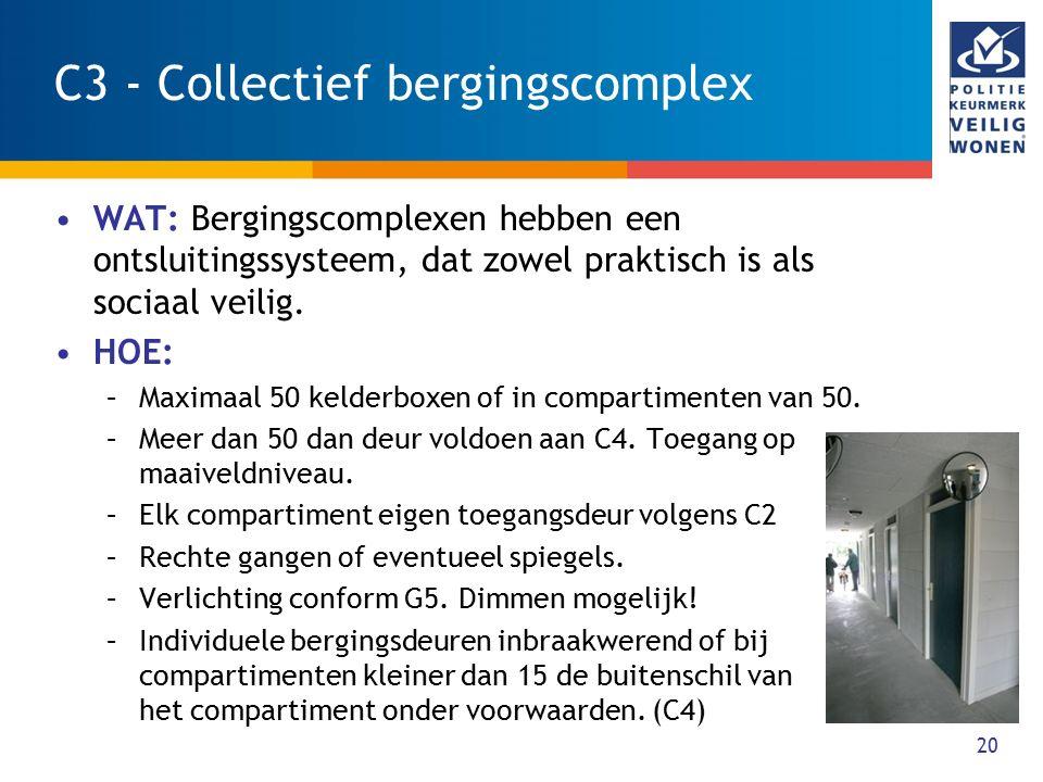 20 C3 - Collectief bergingscomplex WAT: Bergingscomplexen hebben een ontsluitingssysteem, dat zowel praktisch is als sociaal veilig. HOE: –Maximaal 50