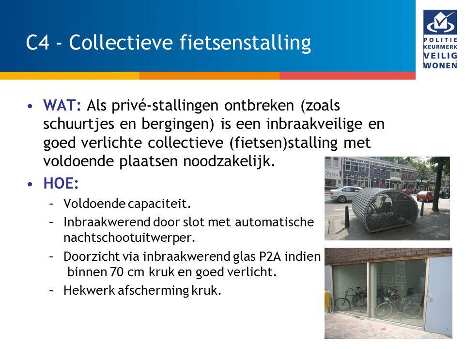 21 C4 - Collectieve fietsenstalling WAT: Als privé-stallingen ontbreken (zoals schuurtjes en bergingen) is een inbraakveilige en goed verlichte collec