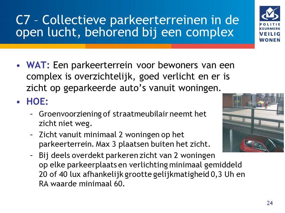 24 C7 – Collectieve parkeerterreinen in de open lucht, behorend bij een complex WAT: Een parkeerterrein voor bewoners van een complex is overzichtelij