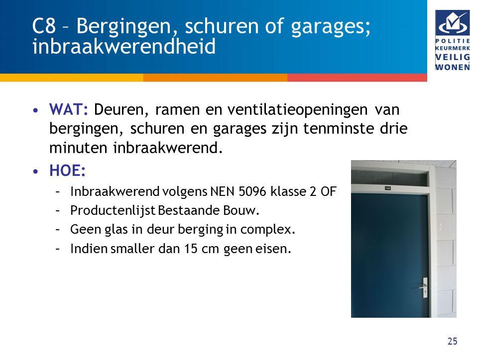 25 C8 – Bergingen, schuren of garages; inbraakwerendheid WAT: Deuren, ramen en ventilatieopeningen van bergingen, schuren en garages zijn tenminste dr