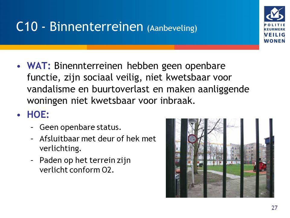27 C10 - Binnenterreinen (Aanbeveling) WAT: Binennterreinen hebben geen openbare functie, zijn sociaal veilig, niet kwetsbaar voor vandalisme en buurt