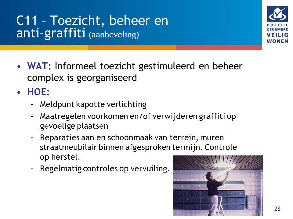 28 C11 – Toezicht, beheer en anti-graffiti (aanbeveling) WAT: Informeel toezicht gestimuleerd en beheer complex is georganiseerd HOE: –Meldpunt kapott