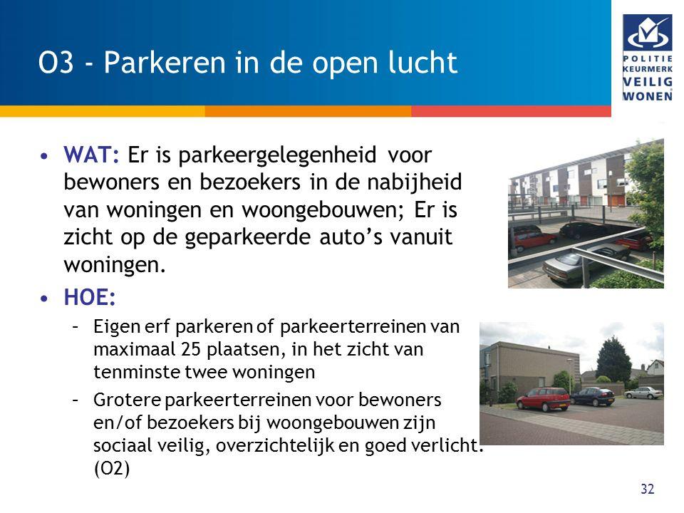 32 O3 - Parkeren in de open lucht WAT: Er is parkeergelegenheid voor bewoners en bezoekers in de nabijheid van woningen en woongebouwen; Er is zicht o