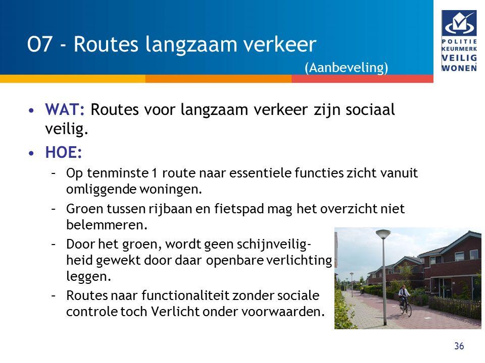 36 O7 - Routes langzaam verkeer WAT: Routes voor langzaam verkeer zijn sociaal veilig. HOE: –Op tenminste 1 route naar essentiele functies zicht vanui