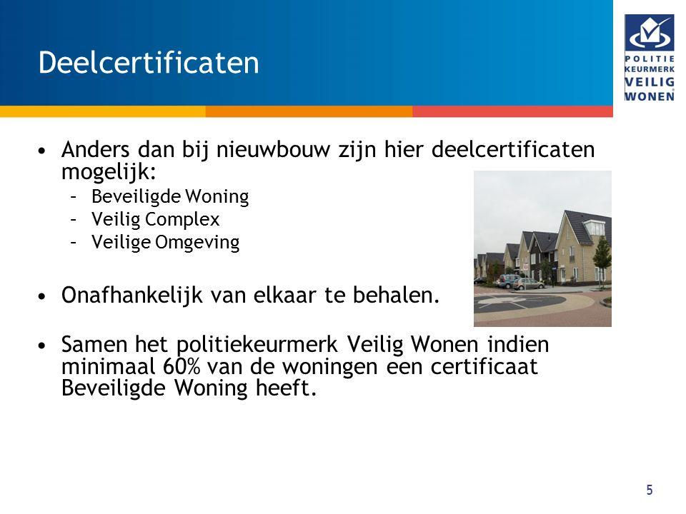 6 Toepassing Er is één keurmerk, maar meerdere toepassingsgebieden: 1.Keurmerk voor nieuwbouw (NB) 2.Certificaat Veilige Omgeving 3.Certificaat Veilig Wooncomplex 4.Keurmerk voor grootschalige renovatie (BB) 5.Certificaat voor individuele woningen (BB, CBW) 6.Certificaat voor het complex (BB, CVC) 7.Certificaat voor de omgeving (BB, CVO)