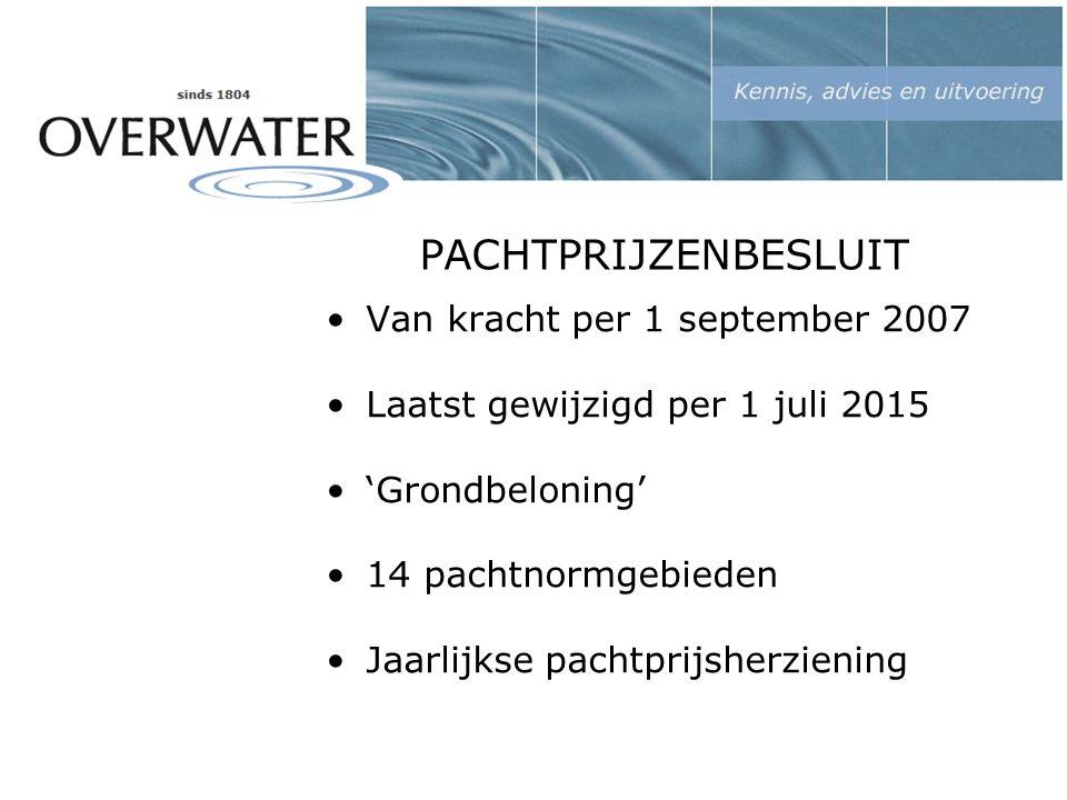 PACHTPRIJZENBESLUIT Van kracht per 1 september 2007 Laatst gewijzigd per 1 juli 2015 'Grondbeloning' 14 pachtnormgebieden Jaarlijkse pachtprijsherziening