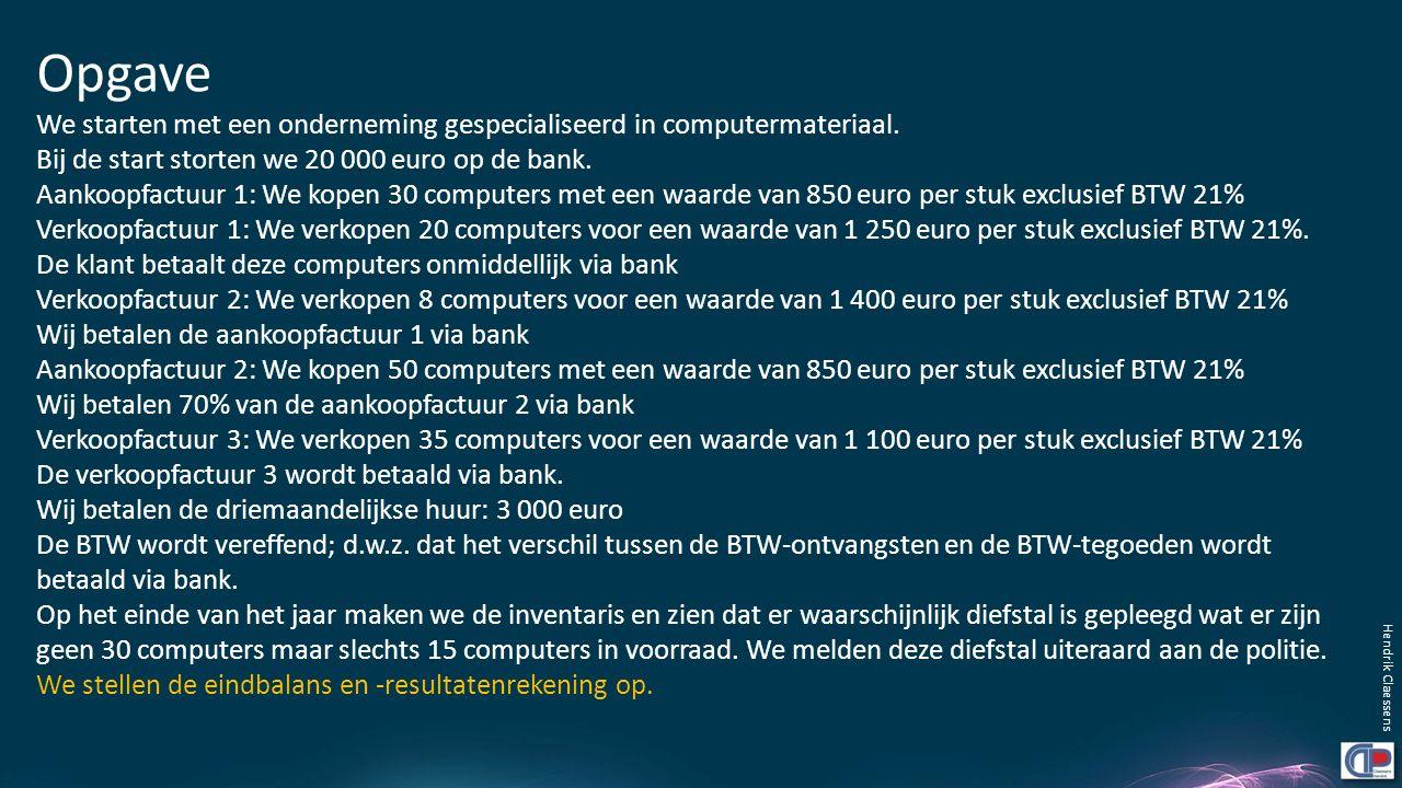 Opgave We starten met een onderneming gespecialiseerd in computermateriaal. Bij de start storten we 20 000 euro op de bank. Aankoopfactuur 1: We kopen