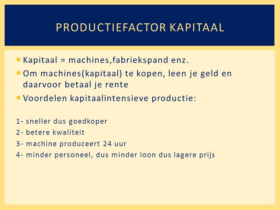  Kapitaal = machines,fabriekspand enz.