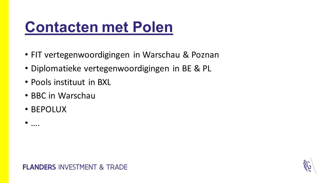 Contacten met Polen FIT vertegenwoordigingen in Warschau & Poznan Diplomatieke vertegenwoordigingen in BE & PL Pools instituut in BXL BBC in Warschau BEPOLUX ….