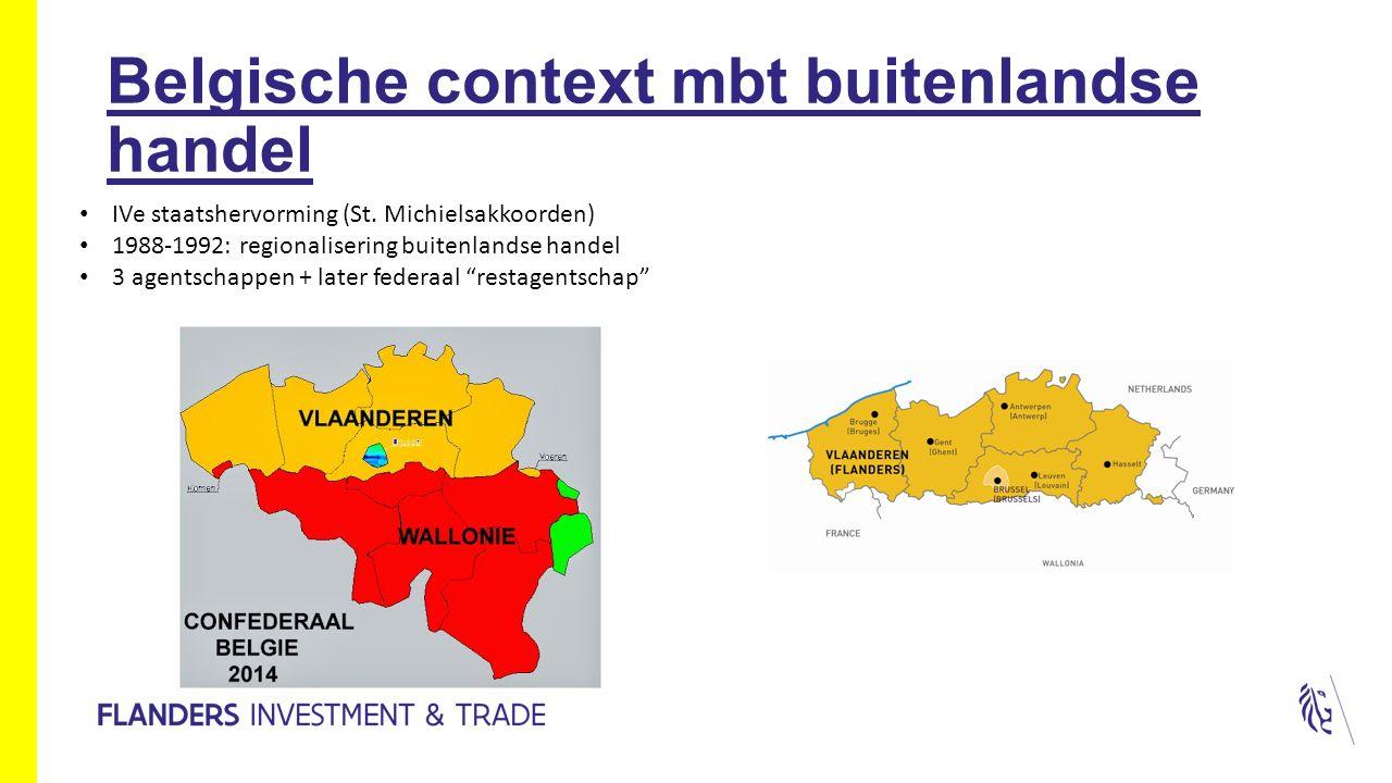 Belgische context mbt buitenlandse handel IVe staatshervorming (St. Michielsakkoorden) 1988-1992: regionalisering buitenlandse handel 3 agentschappen