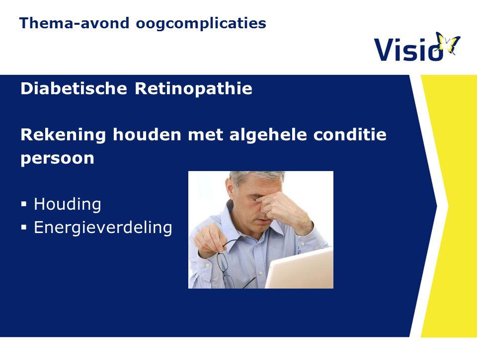 11 december 2015 Diabetische Retinopathie Rekening houden met algehele conditie persoon  Houding  Energieverdeling Thema-avond oogcomplicaties