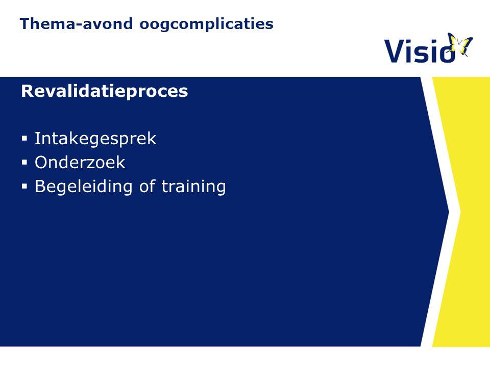11 december 2015 Revalidatieproces  Intakegesprek  Onderzoek  Begeleiding of training Thema-avond oogcomplicaties