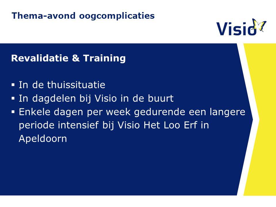 11 december 2015 Revalidatie & Training  In de thuissituatie  In dagdelen bij Visio in de buurt  Enkele dagen per week gedurende een langere period