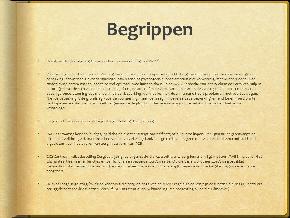 Begrippen  Recht: wettelijk vastgelegde aanspraken op voorzieningen (AWBZ)  Voorziening in het kader van de Wmo: gemeente heeft een compensatieplicht.