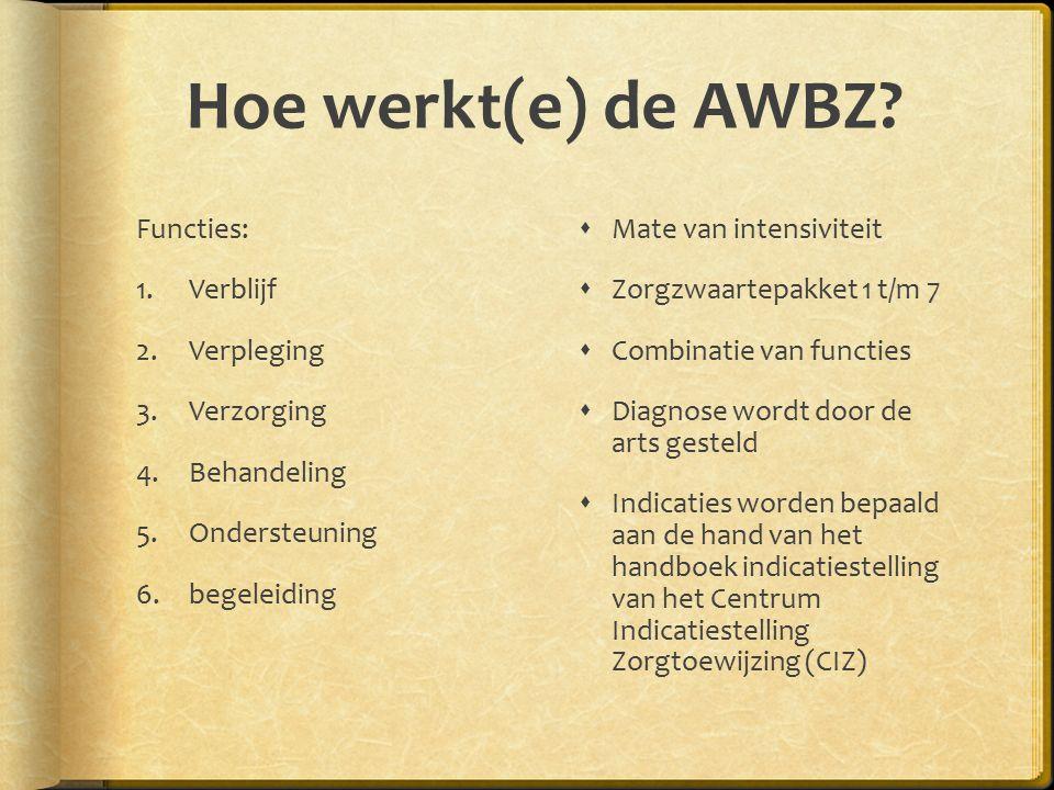 Hoe werkt(e) de AWBZ.
