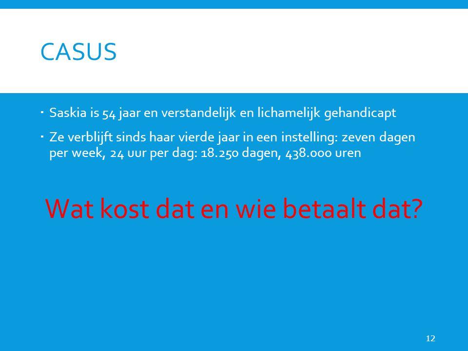 CASUS  Saskia is 54 jaar en verstandelijk en lichamelijk gehandicapt  Ze verblijft sinds haar vierde jaar in een instelling: zeven dagen per week, 24 uur per dag: 18.250 dagen, 438.000 uren Wat kost dat en wie betaalt dat.