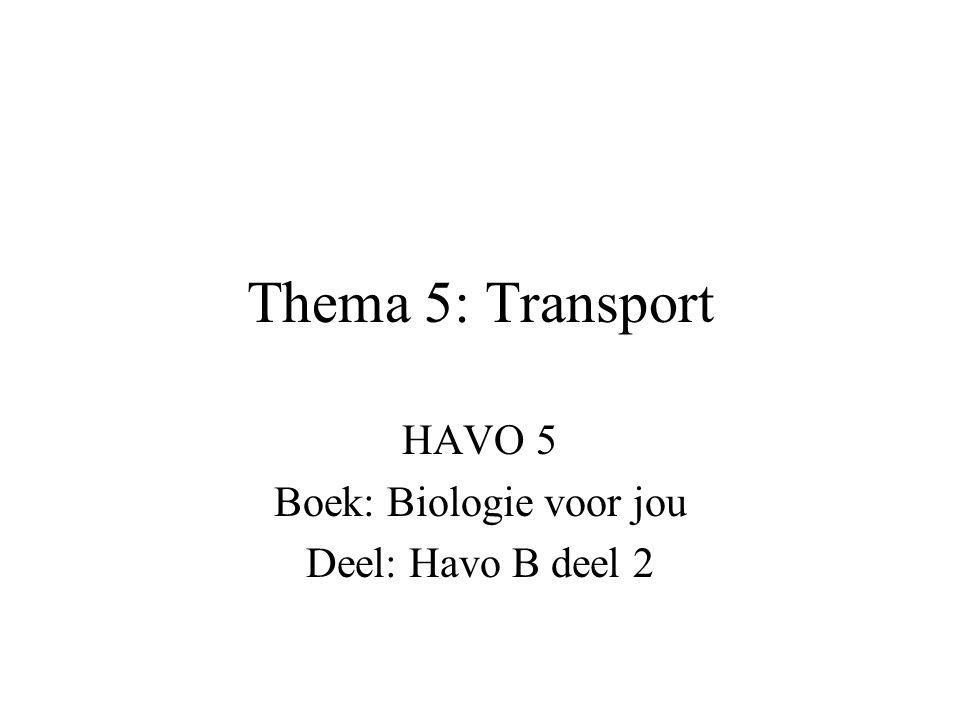 Thema 5: Transport HAVO 5 Boek: Biologie voor jou Deel: Havo B deel 2