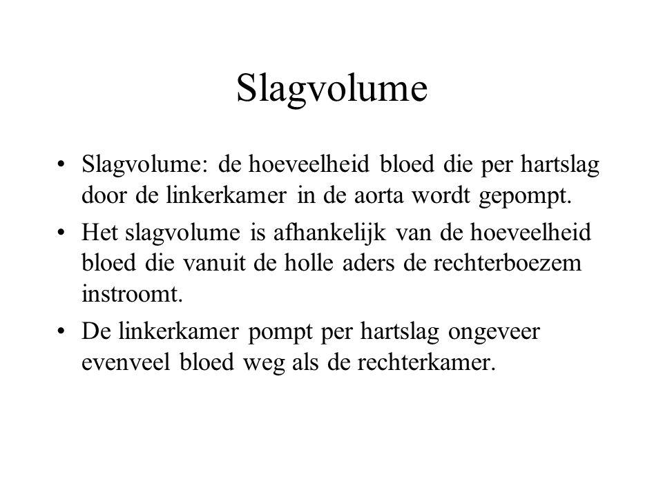 Slagvolume Slagvolume: de hoeveelheid bloed die per hartslag door de linkerkamer in de aorta wordt gepompt.