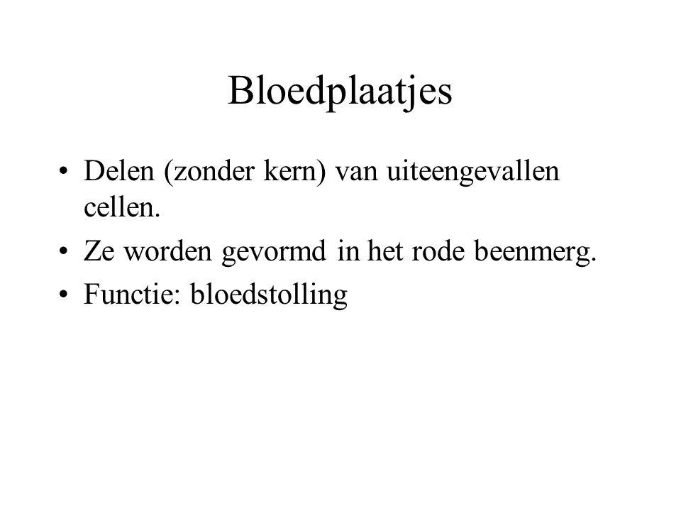 Bloedplaatjes Delen (zonder kern) van uiteengevallen cellen.