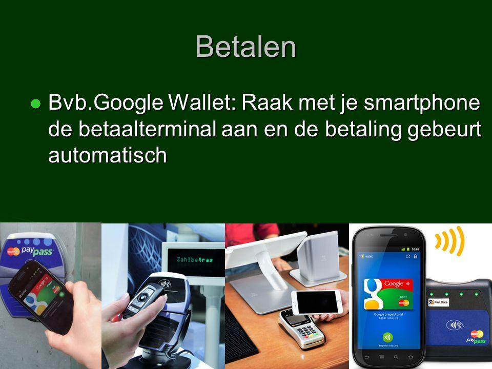 Betalen Bvb.Google Wallet: Raak met je smartphone de betaalterminal aan en de betaling gebeurt automatisch Bvb.Google Wallet: Raak met je smartphone de betaalterminal aan en de betaling gebeurt automatisch