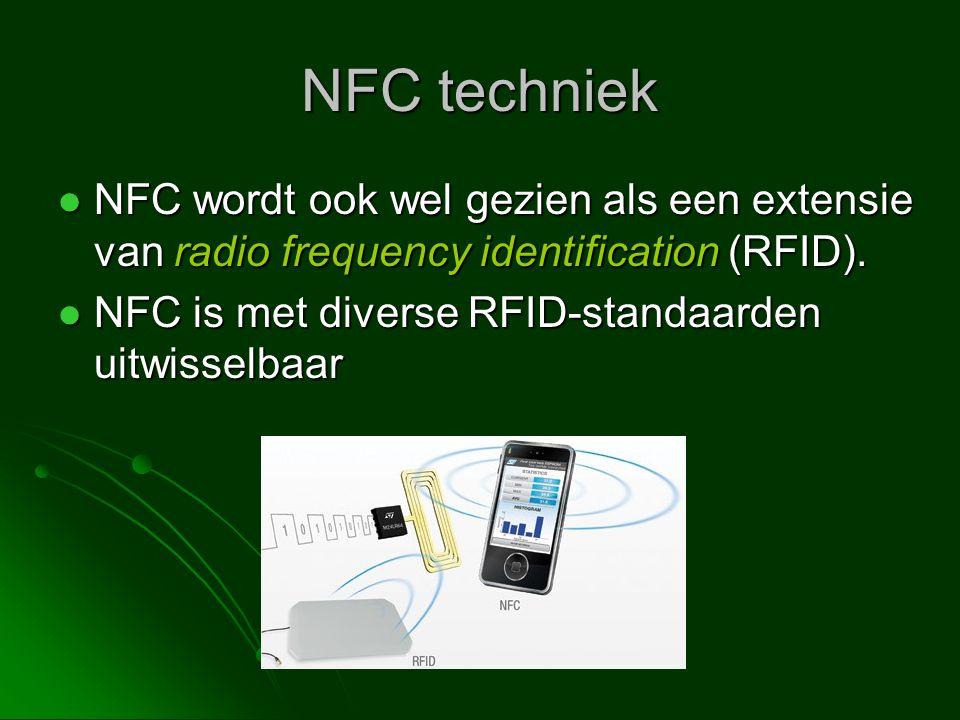 NFC techniek NFC wordt ook wel gezien als een extensie van radio frequency identification (RFID).