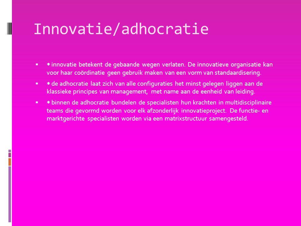 Innovatie/adhocratie   innovatie betekent de gebaande wegen verlaten. De innovatieve organisatie kan voor haar coördinatie geen gebruik maken van ee
