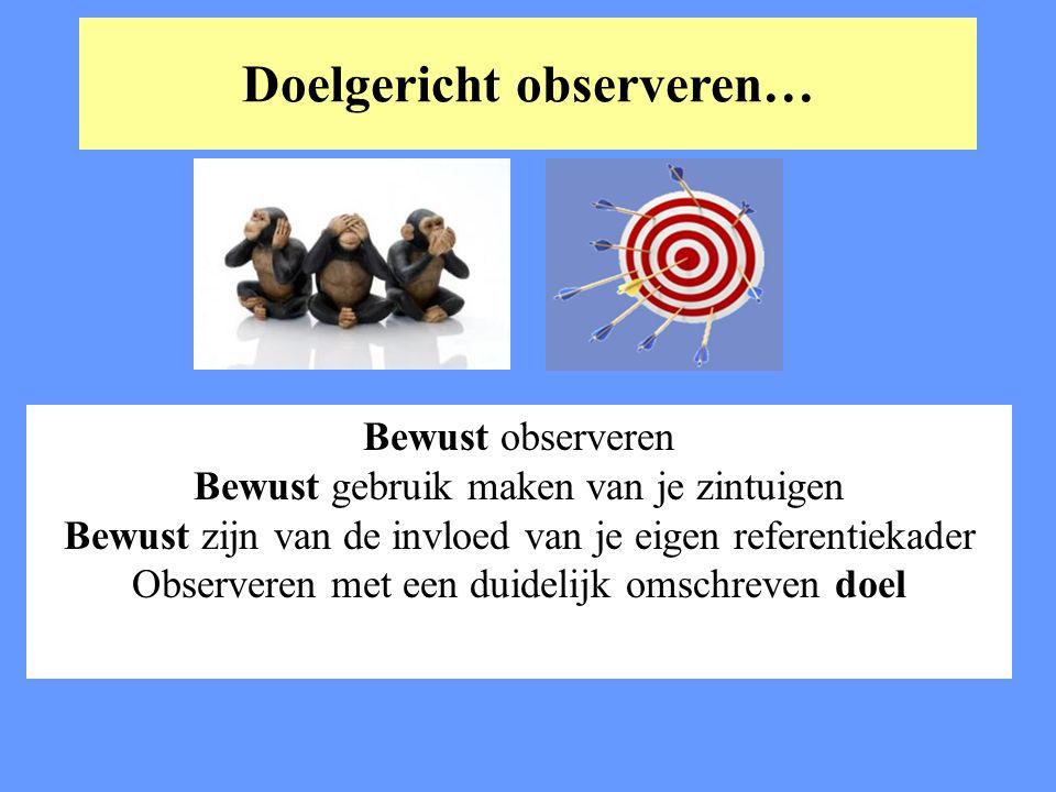 Doelgericht observeren… Bewust observeren Bewust gebruik maken van je zintuigen Bewust zijn van de invloed van je eigen referentiekader Observeren met
