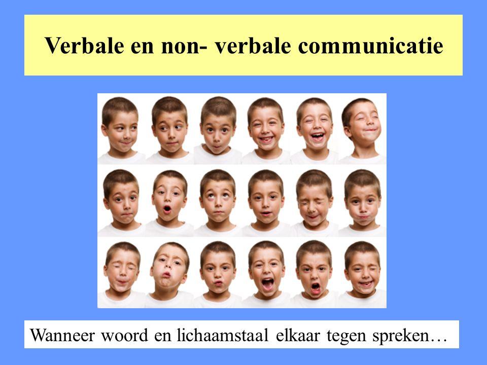 Verbale en non- verbale communicatie Wanneer woord en lichaamstaal elkaar tegen spreken…