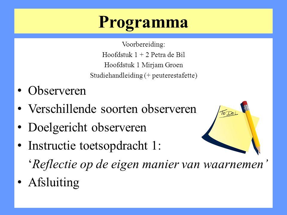 Programma Voorbereiding: Hoofdstuk 1 + 2 Petra de Bil Hoofdstuk 1 Mirjam Groen Studiehandleiding (+ peuterestafette) Observeren Verschillende soorten