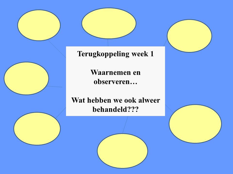 Terugkoppeling week 1 Waarnemen en observeren… Wat hebben we ook alweer behandeld???