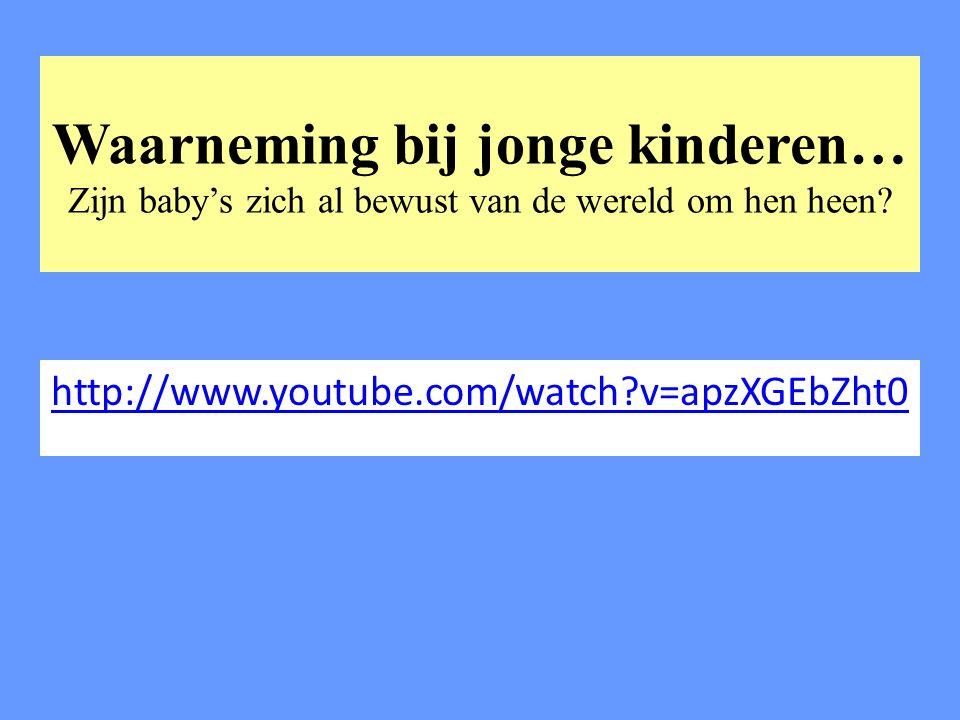 Waarneming bij jonge kinderen… Zijn baby's zich al bewust van de wereld om hen heen? http://www.youtube.com/watch?v=apzXGEbZht0