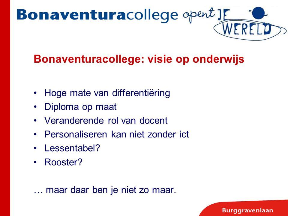 Bonaventuracollege: visie op onderwijs Hoge mate van differentiëring Diploma op maat Veranderende rol van docent Personaliseren kan niet zonder ict Le