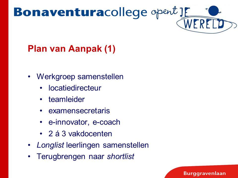 Plan van Aanpak (1) Werkgroep samenstellen locatiedirecteur teamleider examensecretaris e-innovator, e-coach 2 á 3 vakdocenten Longlist leerlingen sam