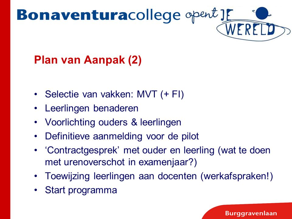 Plan van Aanpak (2) Selectie van vakken: MVT (+ FI) Leerlingen benaderen Voorlichting ouders & leerlingen Definitieve aanmelding voor de pilot 'Contra