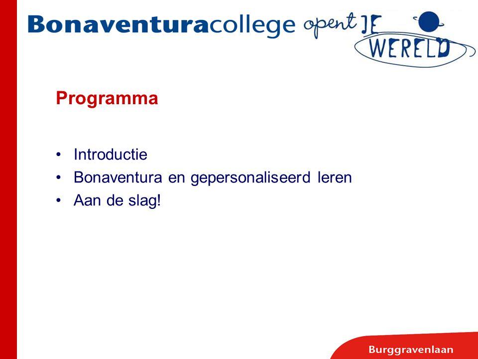 Programma Introductie Bonaventura en gepersonaliseerd leren Aan de slag!