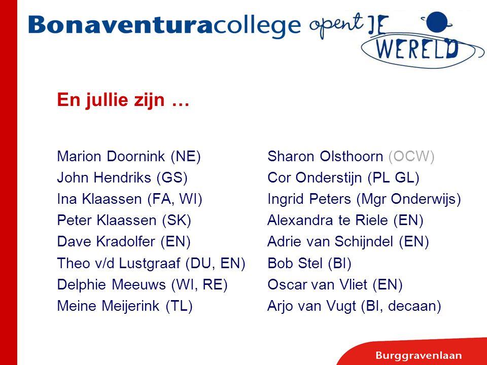 En jullie zijn … Marion Doornink (NE)Sharon Olsthoorn (OCW) John Hendriks (GS)Cor Onderstijn (PL GL) Ina Klaassen (FA, WI)Ingrid Peters (Mgr Onderwijs