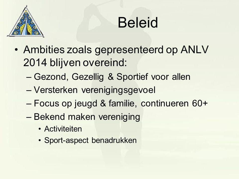Beleid Ambities zoals gepresenteerd op ANLV 2014 blijven overeind: –Gezond, Gezellig & Sportief voor allen –Versterken verenigingsgevoel –Focus op jeu