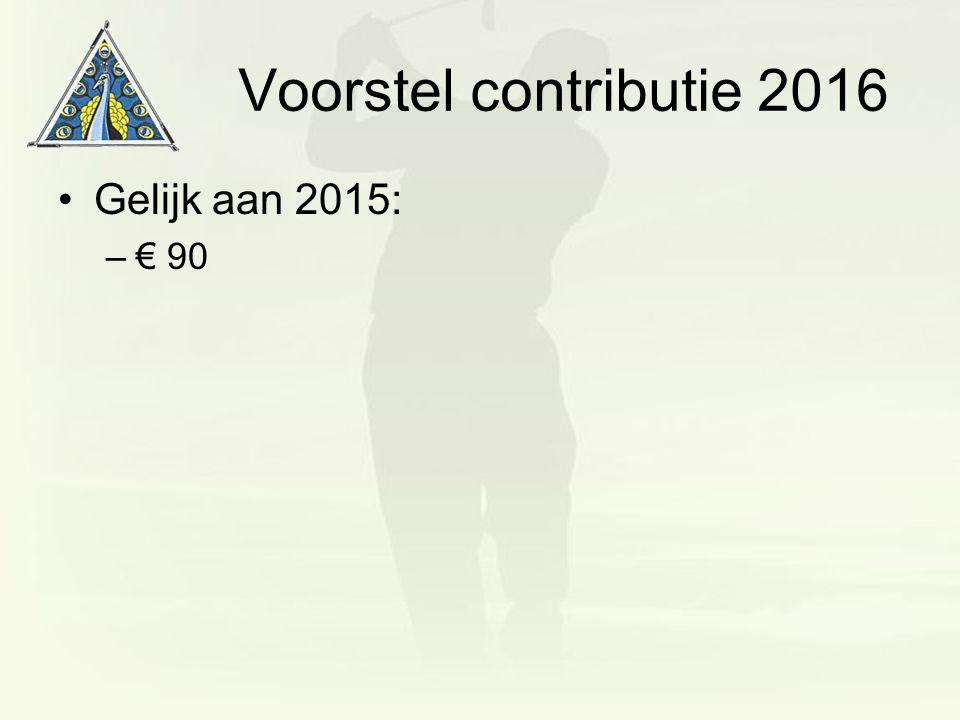 Voorstel contributie 2016 Gelijk aan 2015: –€ 90