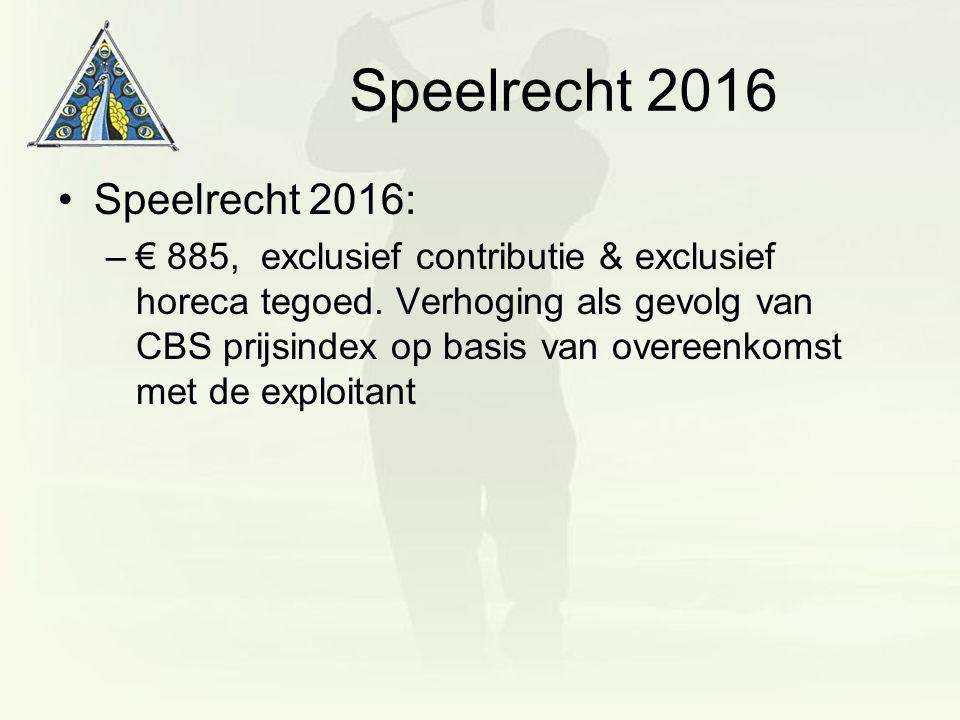 Speelrecht 2016 Speelrecht 2016: –€ 885, exclusief contributie & exclusief horeca tegoed. Verhoging als gevolg van CBS prijsindex op basis van overeen