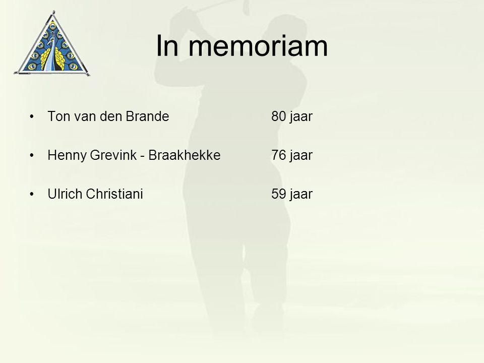 In memoriam Ton van den Brande80 jaar Henny Grevink - Braakhekke76 jaar Ulrich Christiani59 jaar