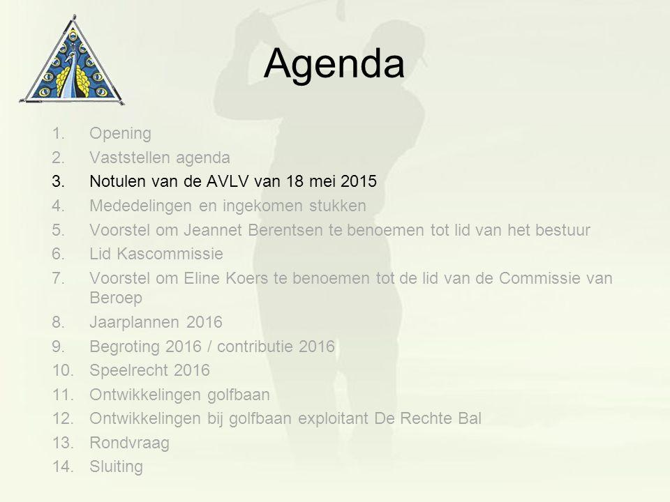 Agenda 1.Opening 2.Vaststellen agenda 3.Notulen van de AVLV van 18 mei 2015 4.Mededelingen en ingekomen stukken 5.Voorstel om Jeannet Berentsen te ben