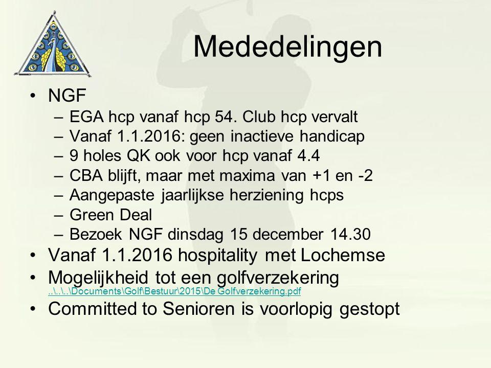 Mededelingen NGF –EGA hcp vanaf hcp 54. Club hcp vervalt –Vanaf 1.1.2016: geen inactieve handicap –9 holes QK ook voor hcp vanaf 4.4 –CBA blijft, maar