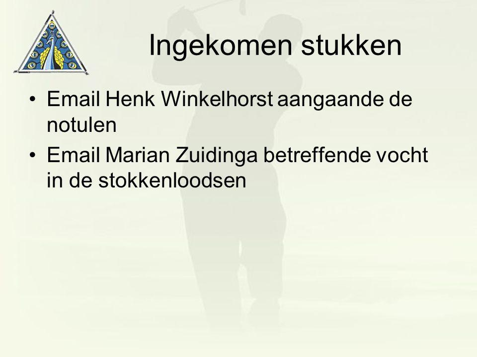 Ingekomen stukken Email Henk Winkelhorst aangaande de notulen Email Marian Zuidinga betreffende vocht in de stokkenloodsen