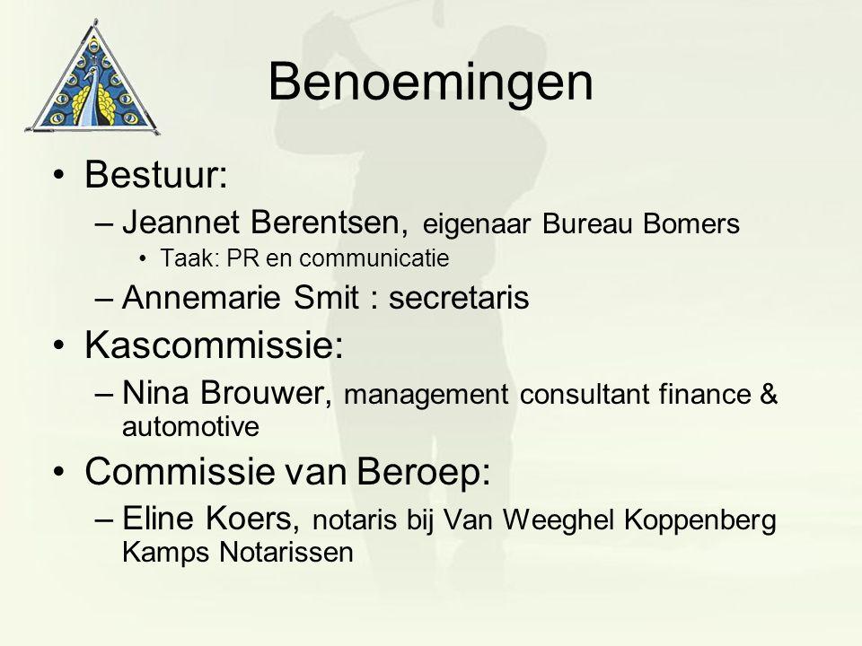 Benoemingen Bestuur: –Jeannet Berentsen, eigenaar Bureau Bomers Taak: PR en communicatie –Annemarie Smit : secretaris Kascommissie: –Nina Brouwer, man