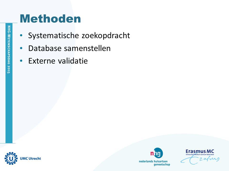 Methoden Systematische zoekopdracht Database samenstellen Externe validatie