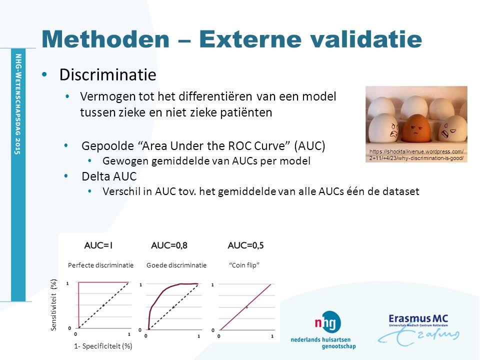 Methoden – Externe validatie Discriminatie Vermogen tot het differentiëren van een model tussen zieke en niet zieke patiënten https://shocktalkvenue.w