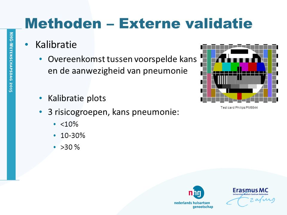 Methoden – Externe validatie Kalibratie Overeenkomst tussen voorspelde kans en de aanwezigheid van pneumonie Kalibratie plots 3 risicogroepen, kans pn