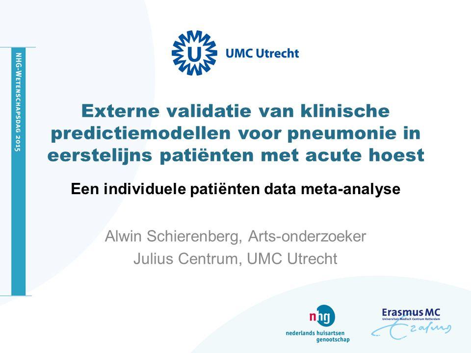 Externe validatie van klinische predictiemodellen voor pneumonie in eerstelijns patiënten met acute hoest Een individuele patiënten data meta-analyse