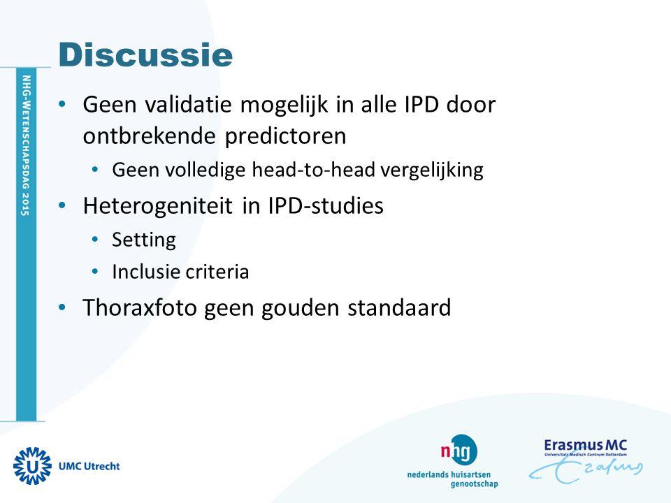 Discussie Geen validatie mogelijk in alle IPD door ontbrekende predictoren Geen volledige head-to-head vergelijking Heterogeniteit in IPD-studies Sett